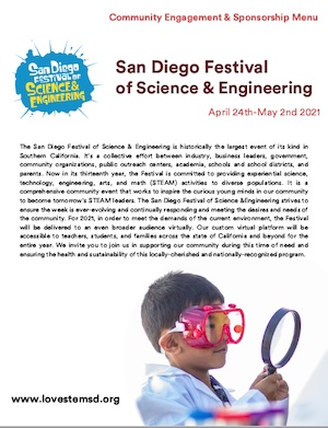2021 San Diego Festival of Science & Engineering Community Engagement & Sponsorship Menu